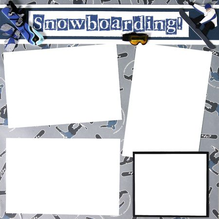 Snowboard Theme Square Frame Scrapbook Template-Insert your Photos! photo