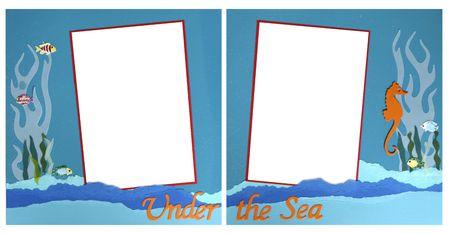 photo album: Under The Sea Square Frame Scrapbook Template-Insert your Photos!