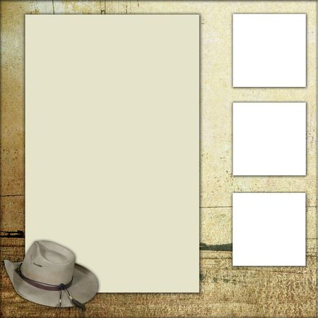 cowboy background: Western Theme Square Frame Scrapbook Template-Insert your Photos!
