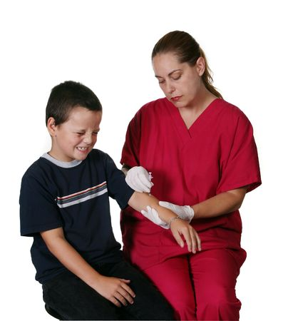 Medical Staff Giving Boy Insulin Injection photo