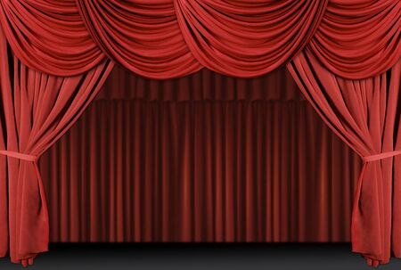 curtain theatre: Old fashioned, elegant theater stage with velvet curtains.