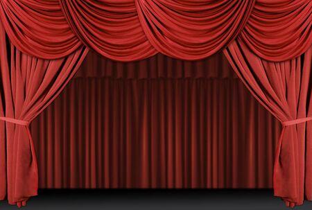 rideau de theatre: Vieille �tape fa�onn�e et �l�gante de th��tre avec des rideaux en velours.