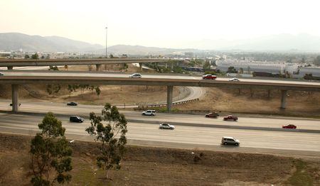 Freeway Overpass With Traffic Traveling