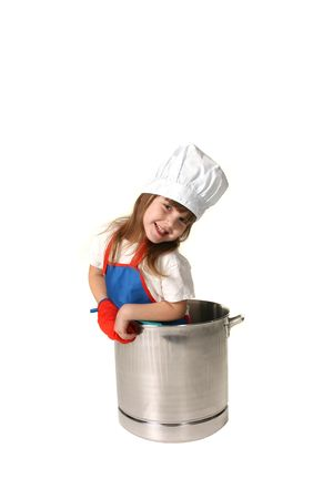 Young Child as  A Chef in a Pot Stock Photo
