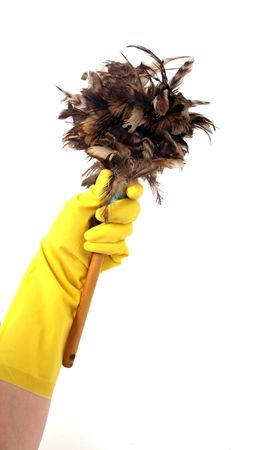 Latex Glove For Cleaning Holding Feather Duster