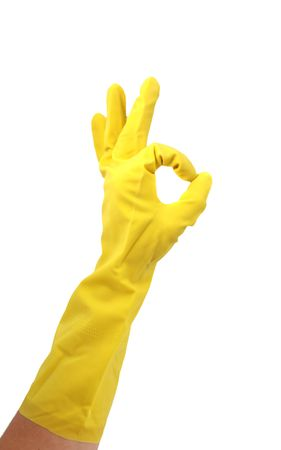 clean dishes:  Latex Glove For Cleaning Making an OK hand sign