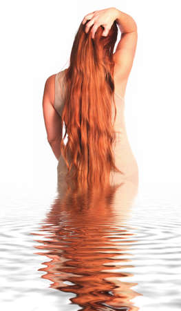 red head woman: Red Head Woman Running Fingers Through Hair