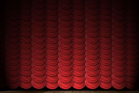 curtain: Old fashioned, elegant theater stage with velvet curtains.