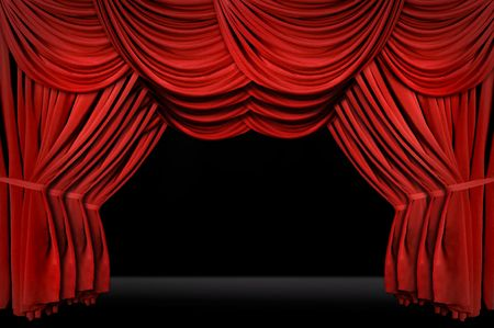 horozontal: Horozontal old fashioned elegant theater stage with velvet curtains leading upstage in an arch Stock Photo