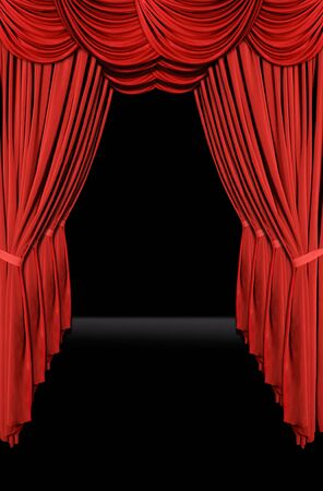 Vertical old fashioned elegant theater stage with velvet curtains leading upstage in an arch Stock Photo - 835314