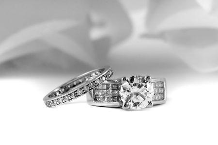 Wedding Rings With Brilliant and Princess Cut Diamonds Stock fotó