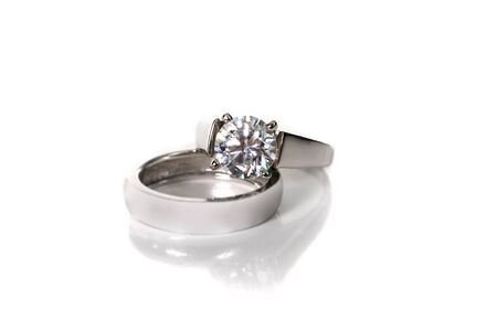 Platinum White Gold Diamond Wedding Engagement Ring With Band Isolated on White Background