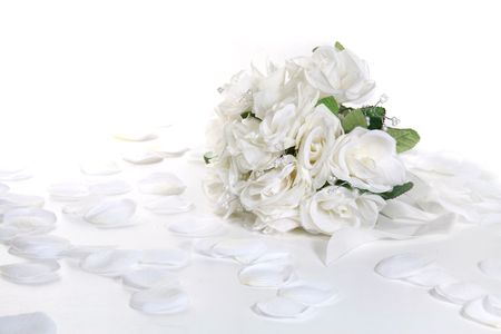 Bridal Boquet on WHite With Petals