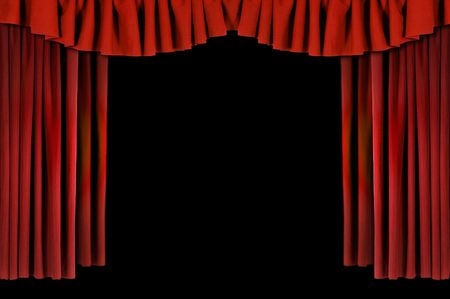 Red Horozontal Draped Theatre Curtains on Black