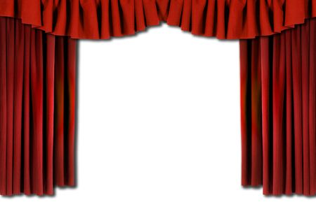 horozontal: Red Horozontal Draped Theatre Curtains on white