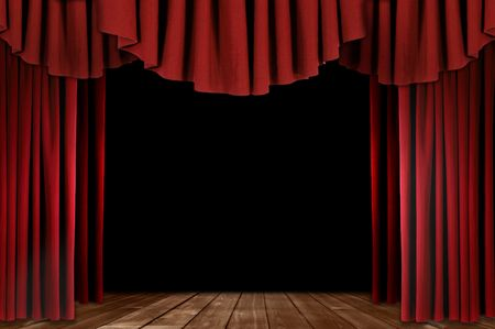 Red Stage Theater Drapes With Wood Floor Stock Photo