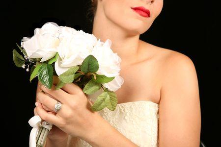 Beautiful Bride Against Dramatic Black Background Stock Photo - 1215942