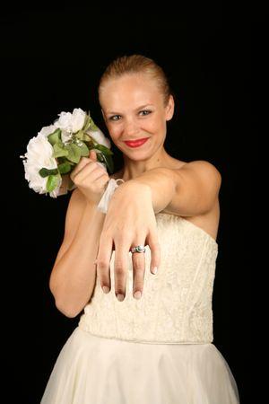 Beautiful Bride Against Dramatic Black Background Stock Photo - 1215945