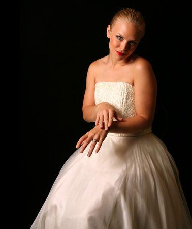 Beautiful Bride Against Dramatic Black Background Stock Photo - 1215946