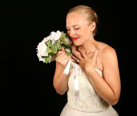 Beautiful Bride Against Dramatic Black Background Stock Photo - 1215950