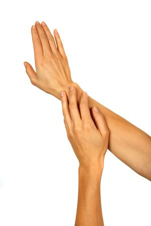 skintone: Female Hands Putting on Lotion Stock Photo