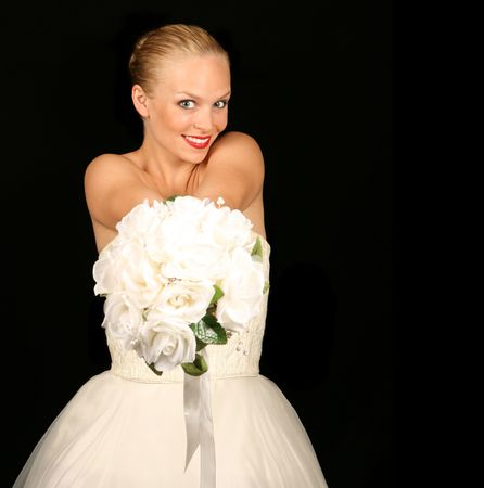 Beautiful Bride Against Dramatic Black Background Stock Photo - 1215954