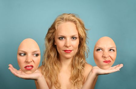 Woman With Various Interchangeable Facial Expressions