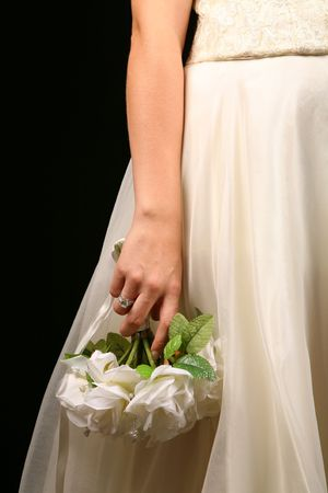 Beautiful Bride Against Dramatic Black Background Stock Photo - 1215994