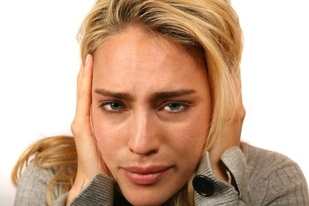 Caucasian Woman Extremely Stressed Out Stock Photo