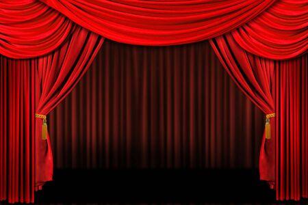 theatre: Mehrfaches Rotes �berlagertes Stadium Theater Drapieren Hintergrund Lizenzfreie Bilder