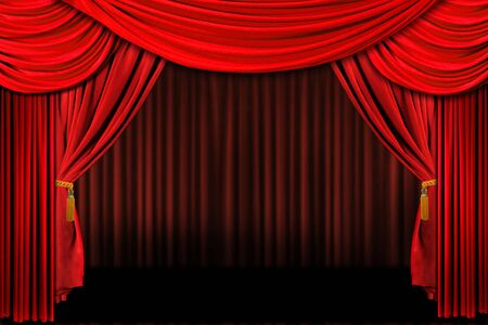 Multiple Red Layered Stage Theater Drape Background Stock Photo - 1215987