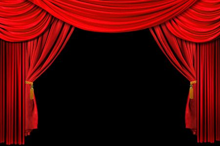 curtain theatre: Bright Red Stage Theater Draped Curtain Background on Black