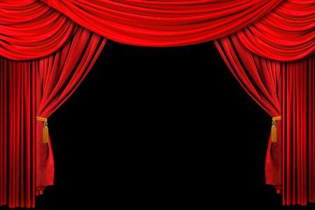 rideau de theatre: Rouge vif rideau de sc�ne de th��tre drap� background on Black