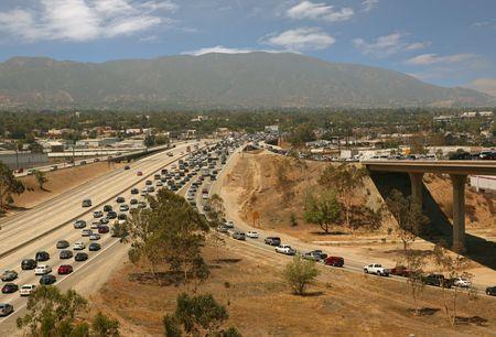 Traffic jam in California Highway System photo