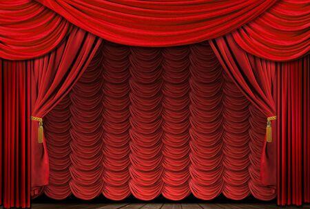 ベルベットのカーテンと古い昔ながら、エレガントな劇場の舞台。