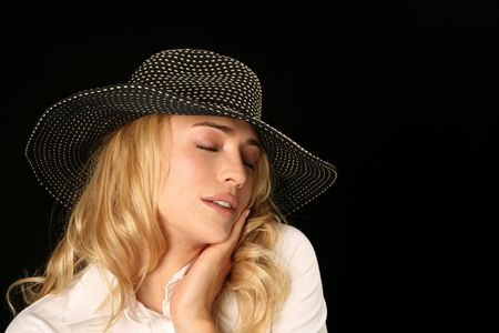 herself: Beautiful Woman Model Holding Head Feeling Good About Herself Stock Photo