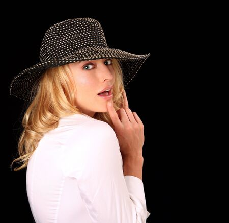 high fashion: High Fashion Woman With Hat Looking Sensual