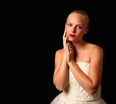 Beautiful Bride Against Dramatic Black Background Stock Photo - 1320685