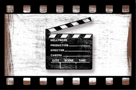 Grungy Dirty Movie Clapper Directors Board With Filmstrip on White photo