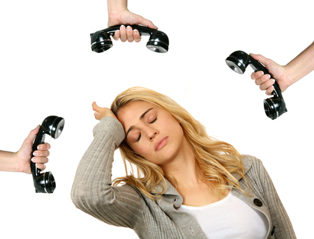 non: Woman Stressed Over Telephone Ringing Non Stop