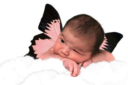 Infant Baby Girl in Clouds With Fantasy Butterfly Wings photo