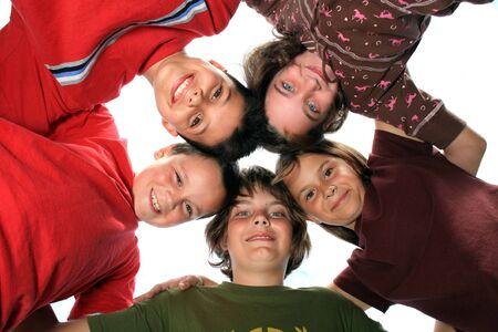 Young Kids Huddled Together photo