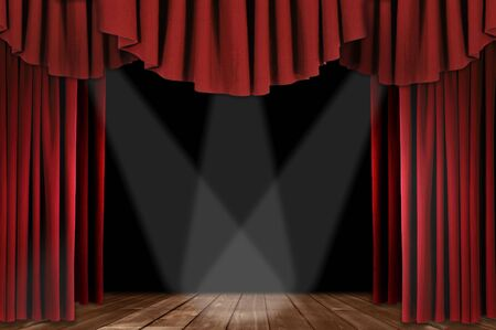 horozontal: Red Horozontal Draped Theatre Curtains on Black With 3 Spotlights