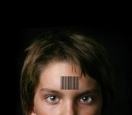 bar: Child Branded With a UPS Bar Code: Representing Social Issues Stock Photo