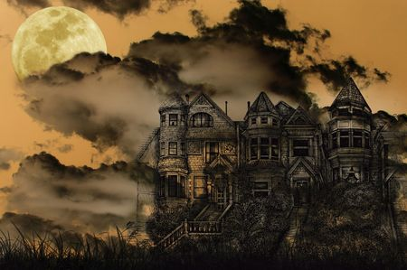 broken house: Old Victorian Haunted Mansion Illustrated on a Spooky Background With Moon for Halloween Stock Photo