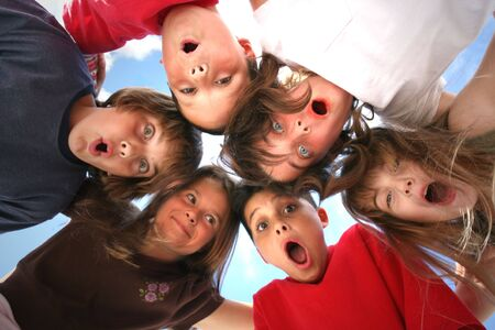 6 Children With Surprised Look on Their Faces Stock Photo