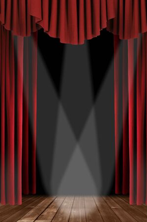 Red Vertical Draped Theatre Curtains on Black With 3 Spotlights Stock Photo