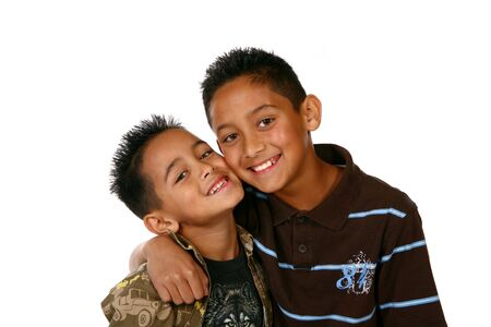 Happy Healthy Latino Kids on White Background