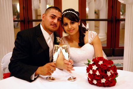 Wedding Portrait of Latino Couple: High ISO Indoors Stock Photo - 2354494