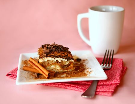 semisweet: Tiramisu and Fork on Colorful Napkin Shot in High Depth of Field